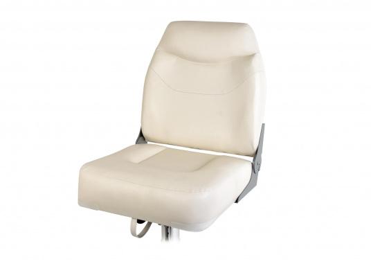 Breiter, komfortabler Bootsstuhl mit extra hoher, klappbarer Rückenlehne. Abmessungen (BxHxT): 50 x 58 x 50 cm. Ein passender Stuhlfuß ist separat erhältlich.