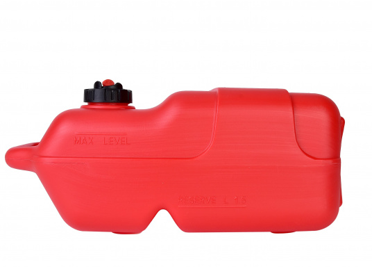Sturdy, durable plastic gasoline tank for outboard motors. 12-liter capacity. Hose connection: 10 mm. Dimensions include the carrying handle. (Afbeelding 3 of 4)