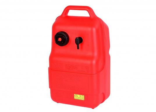 Stabiler, aus widerstandsfähigem Kunststoff gefertigter Benzintank für Außenborder mit 12 Liter Volumen. Schlauchanschluss: 10 mm. Tank Abmessungen inkl. Tragegriff.
