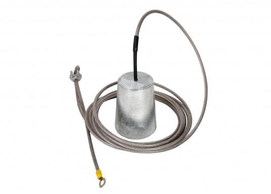 Diese Zinkanode wird mit einem 4 m langen, PVC-beschichteten Edelstahl-Befestigungsseil geliefert. Mit M8 Kabelschuh zur Verbindung der Anode mit dem zu schützenden Objekt. Ideal zum Schutz von Steganlagen, Kränen, Gebäuden usw.