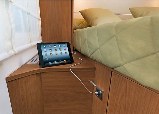 Doppel-USB-Steckdose passend zur INTEGRO FLOW Serie. Ideal zum Laden mobiler Endgeräte wie zum Beispiel Smartphones, Tables, Navigationsgeräte, Kameras etc. geeignet. (Bild 3 von 3)