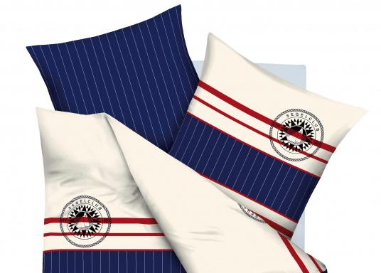 Wendebettwäsche im maritimen Design, styled by Kaeppel. Der zeitlos schöne Stilmix aus Streifen und feiner Gitteroptik verleiht Ihrer Koje Klasse und Eleganz. (Bild 4 von 6)