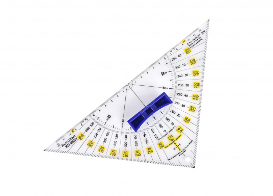 Navigare senza translazione: il lavoro di carteggio è reso più preciso e facile! Le squadrette nautiche presentano una scala bicolore in modo che il corso può essere letto in latitudine e longitudine. (Immagine 2 di 4)