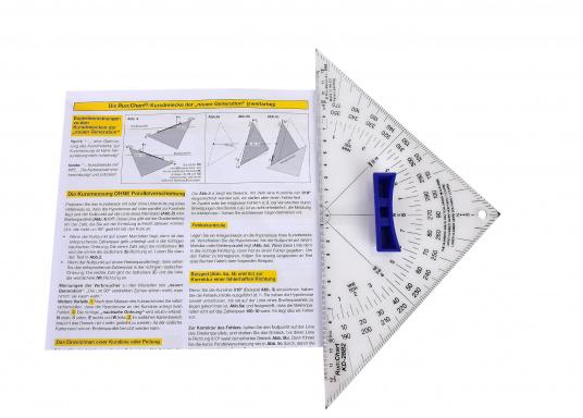 Hochwertige Ausführung aus 3 mm Acrylglas, transparent mit Thermoaufdruck und schwarzer Winkeleinteilung, sowie außenliegendem Nullpunkt. Mit ergonomischem, abnehmbarem Griff. (Bild 4 von 5)