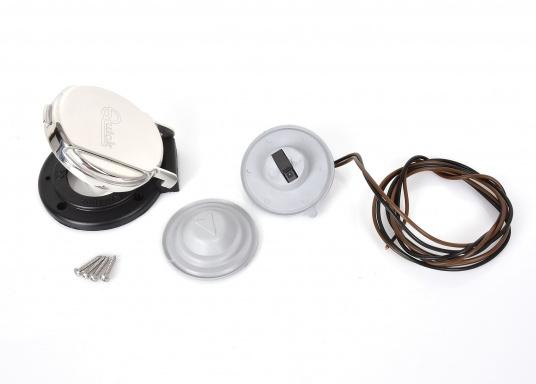 Dieser kompakte Fußtaster ist ideal für die Montage an Deck geeignet. Der Taster ist mit einer Schutzklappe ausgestattet, um ein versehentliches Bedienen zu verhindern. (Bild 3 von 7)