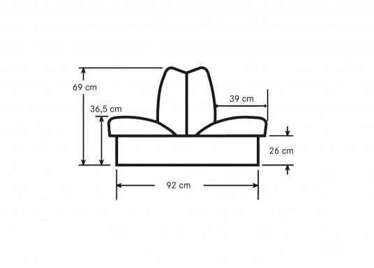 Banc dos à dos avec similicuir et cadre plastique. Deux places. La surface du banc peut être étendue jusqu'à 166 cm pour s'allonger. (Image 6 de 14)