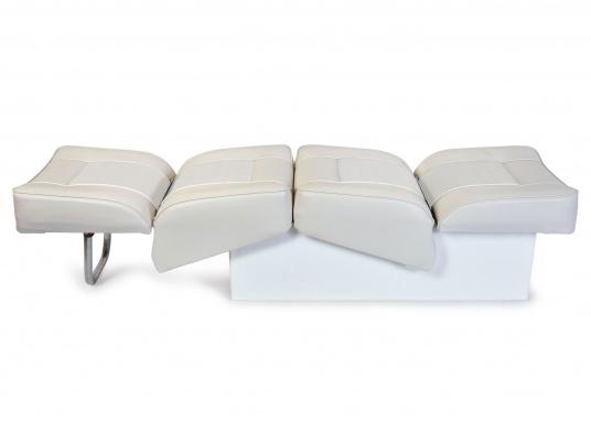 Back-To-Back Sitzbank mit Kunstlederbezug für zwei Personen mit Kunststoff-Aufbaurahmen. Die Sitzfläche lässt sich zu einer Liegefläche mit einer Länge von 166 cm ausklappen. (Bild 2 von 14)