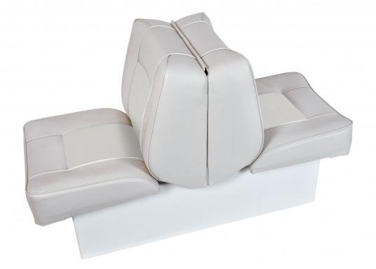 Back-To-Back Sitzbank mit Kunstlederbezug für zwei Personen mit Kunststoff-Aufbaurahmen. Die Sitzfläche lässt sich zu einer Liegefläche mit einer Länge von 166 cm ausklappen.