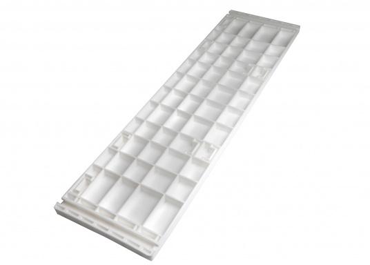 Banc dos à dos avec similicuir et cadre plastique. Deux places. La surface du banc peut être étendue jusqu'à 166 cm pour s'allonger. (Image 13 de 14)