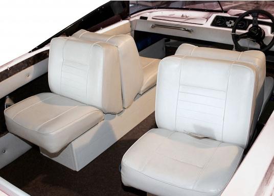 Back-To-Back Sitzbank mit Kunstlederbezug für zwei Personen mit Kunststoff-Aufbaurahmen. Die Sitzfläche lässt sich zu einer Liegefläche mit einer Länge von 166 cm ausklappen. (Bild 3 von 14)