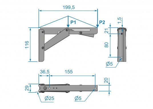 Wenig Platz an Deck? Mit diesem klappbaren Edelstahl-Beschlag für Tisch- oder Arbeitsplatte wird der Raum optimal genutzt. Die Montage ist an glatten Flächen möglich. (Bild 7 von 7)