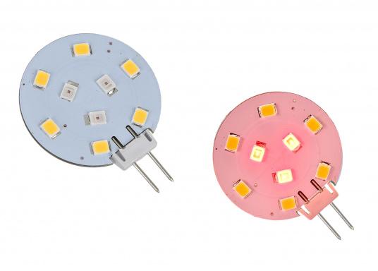 Dieser zweifarbige G4 Lampeneinsatz liefert angenehmes, warm weißes Licht und kann durch schnelles Aus- und Einschalten (innerhalb einer Sekunde) auf rotes Licht umgeschaltet werden.