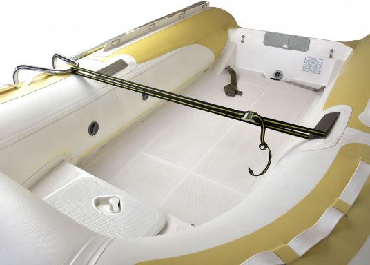 Klappbare Schlauchboot-Badeleiter aus hochglanzpoliertem Edelstahl, dreistufig. Wird komplett mit Nylon-Riemen samt Schnalle zur Befestigung geliefert. Universell einsetzbar. Abmessungen (LxB): 880 x 250 mm. (Bild 7 von 7)