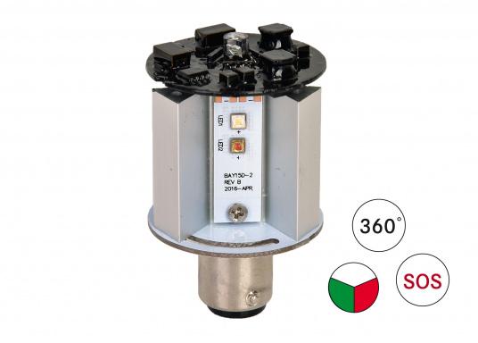 Dieser Multivolt-LED-Einsatz ermöglicht die Verwendung einer vorhandenen Ankerlaterne als Positionslaterne mit drei verschiedenen Leuchtmodi: 360° Ankerlicht (weiß), 3-Farben-Laterne (weiß, rot, grün) und SOS-Blinklicht. Die vorhandene Verkabelung kann weiterhin genutzt werden, da die Leuchtmodi über das Aus- und Einschalten ausgewählt werden.
