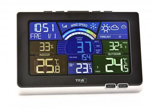 Die Funk-Wetterstation SPRING BREEZE ermittelt mittels internen und externen Sensoren alle interessanten Umgebungsdaten und stellt diese übersichtlich und ansprechend animiert auf dem hochwertigen Farbdisplay dar.