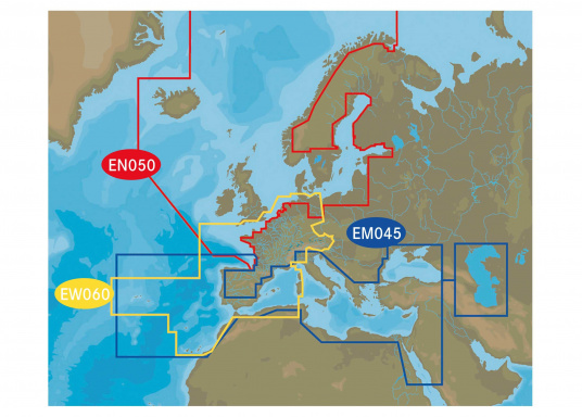 With the new continental sea chart modules from C-MAP, all of Europe is available on just two chart modules. These charts include high-resolution tidal lines, tides, currents, and easy-routing. (Imagen 3 of 3)