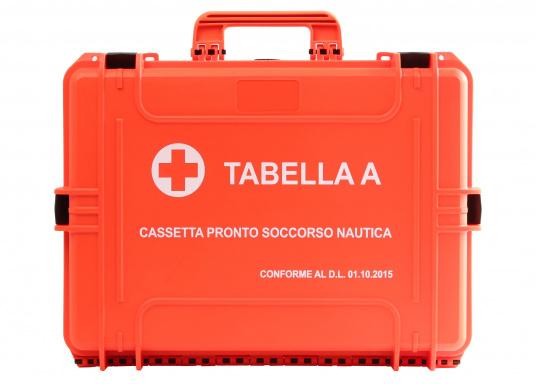 Erste-Hilfe-Koffer TABELLA A, speziell für italienische Gewässer. Vorgeschrieben für: Küstenschifffahrt, nationale und internationale Küstenschifffahrt, Küstenfischerei und Freizeitschifffahrt.