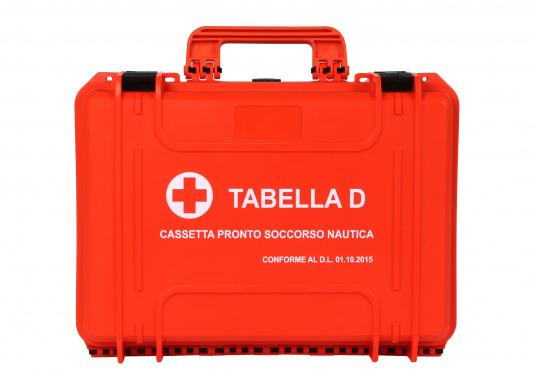 Erste Hilfe Koffer TABELLA D, speziell für italienische Gewässer. Gemäß Gesetzes-Erlassung vom 01.10.2015 vorgeschrieben für: Küstenschifffahrt bis 12 Meilen von der Küste sowie Freizeitschifffahrt über 12 Meilen von der Küste.