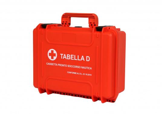 Erste Hilfe Koffer TABELLA D, speziell für italienische Gewässer. Gemäß Gesetzes-Erlassung vom 01.10.2015 vorgeschrieben für: Küstenschifffahrt bis 12 Meilen von der Küste sowie Freizeitschifffahrt über 12 Meilen von der Küste. (Bild 2 von 7)