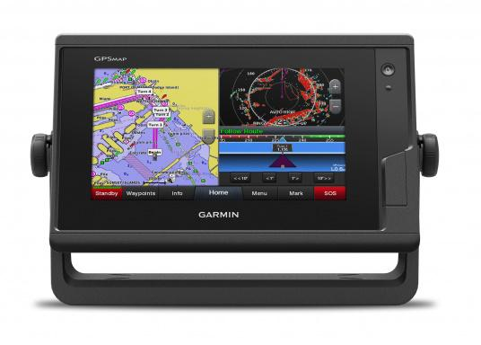 Kartenplotter GPSMAP 722 mit 7 Zoll großem Touchscreen und intuitiver Bedienung sowie NMEA2000 und NMEA 0183 Unterstützung.