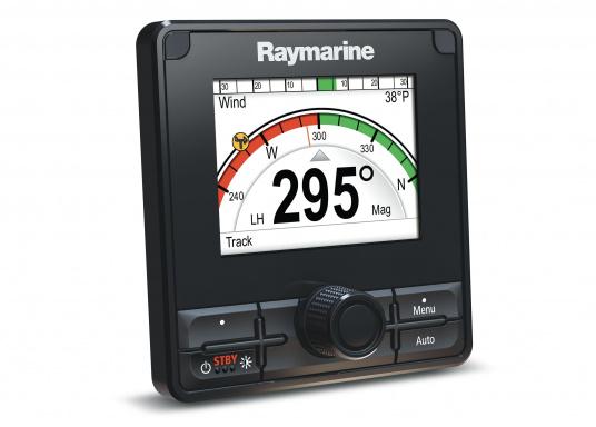 Die Raymarine Autopilot-Bedieneinheit p70Rs ist mit der Kombination aus Drucktasten- und Drehknopfbedienelementen auf Motorboote ausgerichtet.