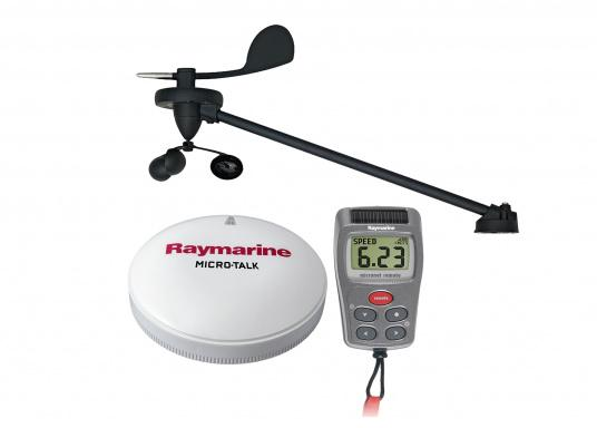 Das kabellose Wind-Kit für SeaTalkNG-Netzwerke von Raymarine besteht aus einer kabellosen Masteinheit, einer Handfernbedienung und einem Micro-Talk Gateway.