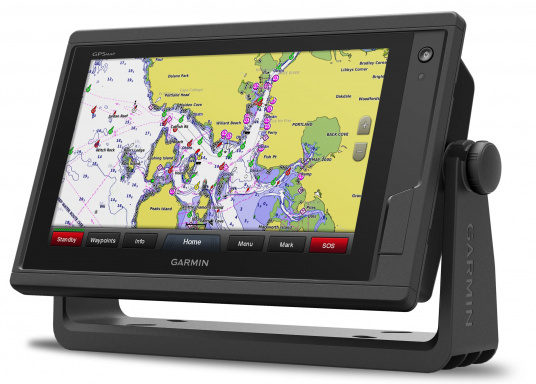 GPSMAP 922 chartplotter with a 9-inch touchscreen and intuitive controls, as well as NMEA2000 and NMEA0183 support. (Image 2 of 4)