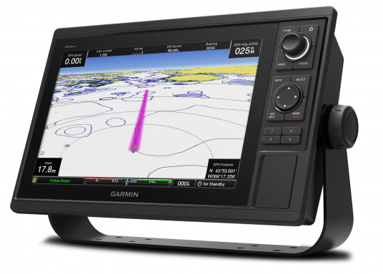 GPSMAP 1222 chartplotter with a 12-inch touchscreen and intuitive controls, as well as NMEA2000 and NMEA0183 support.