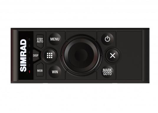 Die OP50 im Hochformat eignet sich dank ihres schlanken Designs und der speziell für solche Installationen positionierten Kabel perfekt für die Anbringung in der Lehne eines Steuerstuhls. Diese Ausrichtung ist zudem für die Verwendung in engen Konsolen und neben Touchscreens der Serie Simrad MO oder neben Ruderhaus-Monitoren geeignet.