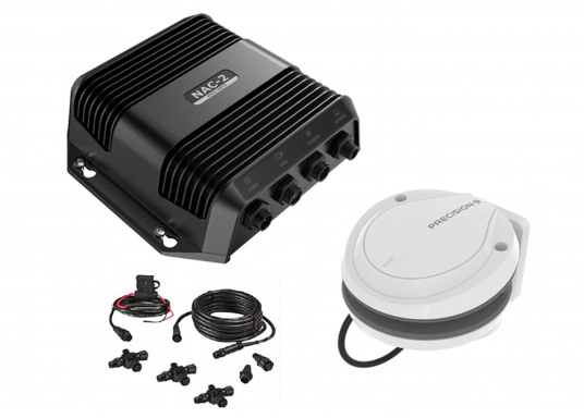 Das NAC-2 VRF Autopilot Core Paket von Navico besteht aus einem NAC-2 Autopilot Computer, einem Precision-9 Kompass und einem NMEA2000 Backbone Starter-Kit.