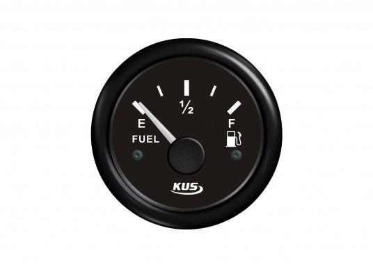 Treibstoff-Tankanzeige, 52 mm, schwarzes Ziffernblatt. Arbeitsbereich: 0 – 190 Ohm.