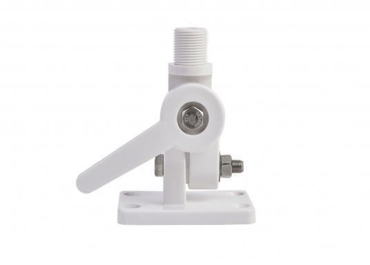 """Tilting antenna base with screw mount. Suitable for all antennas with 1""""x12 UNS threading. Also suitable for GPS antennas. Dimensions of the mounting base: 65 x 95 mm. Screw hole diameter: approx. 7 mm."""
