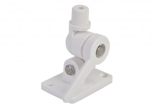 """Tilting antenna base with screw mount. Suitable for all antennas with 1""""x12 UNS threading. Also suitable for GPS antennas. Dimensions of the mounting base: 65 x 95 mm. Screw hole diameter: approx. 7 mm. (Image 3 of 4)"""