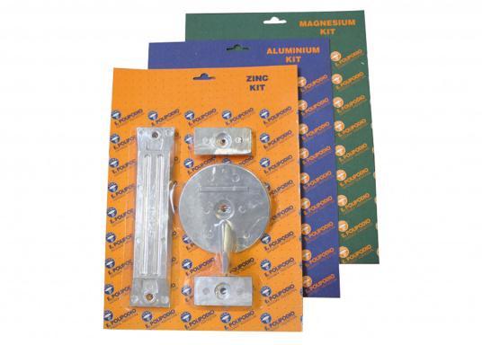 Anoden - Set für HONDA Außenborder. Erhätlich in Zink, Aluminium und Magnesium. Das Set besteht aus den Bestandteilen: HN010, HN004 und HN008. Original Honda Teilenummern: 41109-ZW1-B00 /41107-ZW1-B01ZA /06411-ZW1-000.