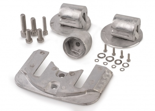 Mercruiser anode set for BRAVO Three series contains 1x ME014, 2x ME021, 1x ME035, 1x ME022 and 1x ME034. Screws included. Available in aluminium and magnesium. Original part number: 888761Q02.