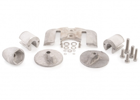 Mercruiser anode set for BRAVO Three series contains 1x ME014, 2x ME021, 1x ME035, 1x ME022 and 1x ME034. Screws included. Available in aluminium and magnesium. Original part number: 888761Q02. (Afbeelding 5 of 9)