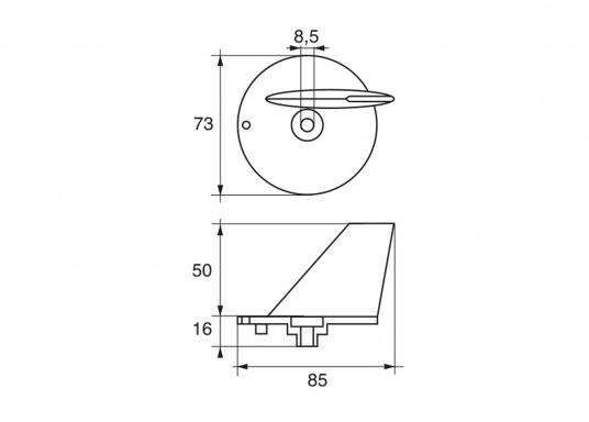 Passende Zinkanode für SELVA - Außenborder mit 40 PS in Form einer Finne. (Bild 2 von 2)