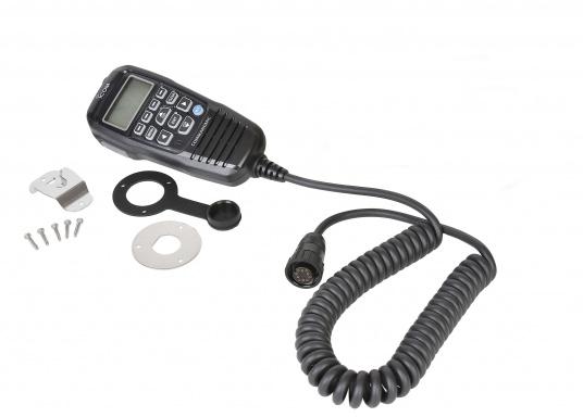 Handbedienteil für die Funkanlage IC-M605EURO von ICOM. Kabellänge: 6,1 m. Wird mit Mikrofonaufhängung und Steckerbefestigungssatz geliefert. Wichtig: Zum Anschluss der Fernbedieneinheit ist das optionale Anschlusskabel OPC-2384 notwendig!