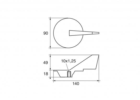 Passende Anode für Yamaha - und Mariner Außenborder mit 60 - 90 PS. Erhältlich in Zink, Aluminium und Magnesium. Original Teilenummer: 668-45371-02. (Bild 2 von 2)