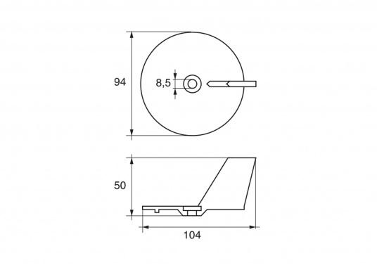 Passende Anoden für Yamaha- und Mariner Außenborder mit 20, 25, 30 und 70 PS. Erhältlich in Zink, Aluminium und Magnesium. Original Teilenummer: 664-45371-01. (Bild 2 von 2)