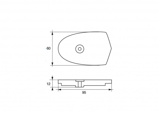 Zinc anode for Yamaha 6C, 6D and 8C motors. Part #6N0-65251-00. (Image 2 of 2)