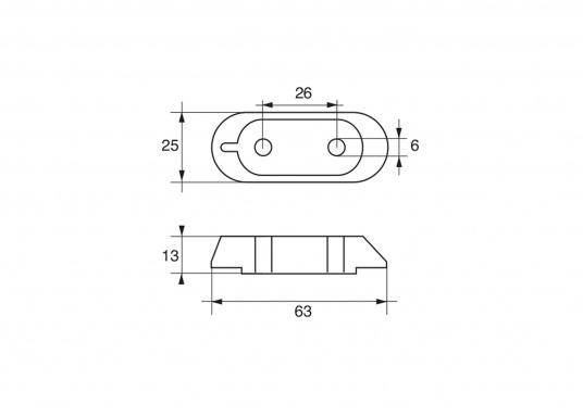 Passende Anode für die 4-Takt Außenborder von Yamaha und Mariner F-25. Erhältlich in Zink, Aluminium und Magnesium. Original Teilenummer: 61W-45251-00. (Bild 3 von 3)