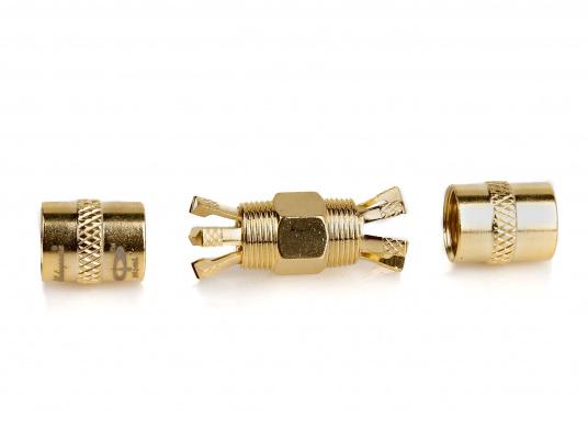 SHAKESPEARE Centerpin PL-258-CP-G Koax-Verbinder, passend für RG8X und RG58 Kabel.Die revolutionäre Konstruktion dieses vergoldeten Koax-Verbinders ermöglicht eine absolut einfache und schnelle Montage, ganz ohne Spezialwerkzeuge.Das lästige und zeitraubende Messen, Abisolieren, Löten oder Crimpen ist bei diesem Verbinder Schnee von gestern!