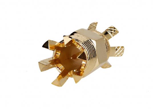 SHAKESPEARE Centerpin PL-258-CP-G Koax-Verbinder, passend für RG8X und RG58 Kabel.Die revolutionäre Konstruktion dieses vergoldeten Koax-Verbinders ermöglicht eine absolut einfache und schnelle Montage, ganz ohne Spezialwerkzeuge.Das lästige und zeitraubende Messen, Abisolieren, Löten oder Crimpen ist bei diesem Verbinder Schnee von gestern! (Bild 2 von 5)