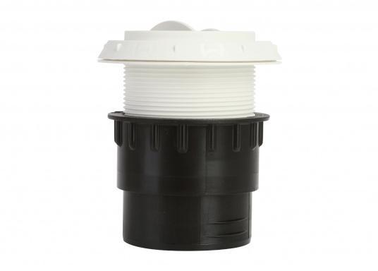 Ausströmer mit Überwurfmutter für Warmluftrohre. Der Ausströmer ist verschließbar. Der Außendurchmesser beträgt 60 mm. Erhältlich in den Farben: schwarz, weiß und grau. (Bild 4 von 6)