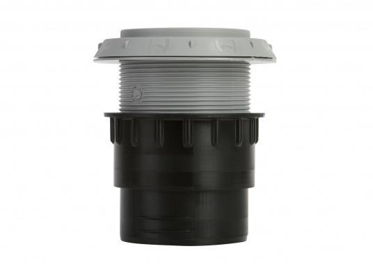 Ausströmer mit Überwurfmutter für Warmluftrohre. Der Ausströmer ist verschließbar. Der Außendurchmesser beträgt 60 mm. Erhältlich in den Farben: schwarz, weiß und grau. (Bild 6 von 6)