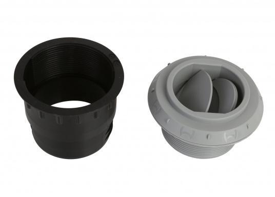 Ausströmer mit Überwurfmutter für Warmluftrohre. Der Ausströmer ist verschließbar. Der Außendurchmesser beträgt 60 mm. Erhältlich in den Farben: schwarz, weiß und grau. (Bild 5 von 6)