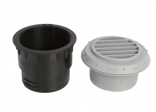Ausströmer mit Überwurfmutter für Warmluftrohre in geöffneter Ausführung. Der Außendurchmesser beträgt 60 mm. Erhältlich in den Farben: schwarz, weiß und grau. (Bild 5 von 6)