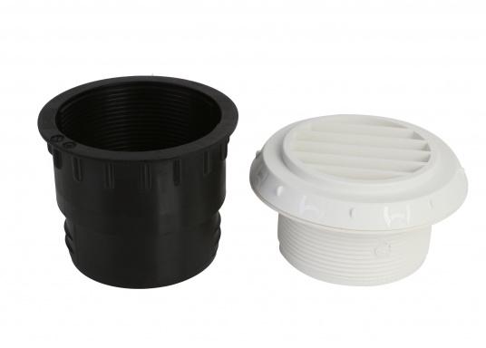 Ausströmer mit Überwurfmutter für Warmluftrohre in geöffneter Ausführung. Der Außendurchmesser beträgt 60 mm. Erhältlich in den Farben: schwarz, weiß und grau. (Bild 3 von 6)
