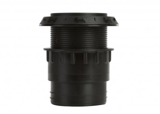 Ausströmer mit Überwurfmutter für Warmluftrohre in geöffneter Ausführung. Der Außendurchmesser beträgt 60 mm. Erhältlich in den Farben: schwarz, weiß und grau. (Bild 2 von 6)